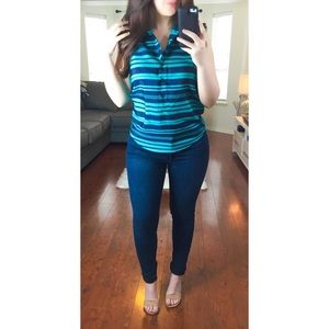 J Crew Factory Teal Striped Sleeveless Blouse